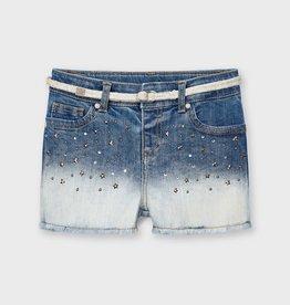 Mayoral Applique Denim Shorts with Belt