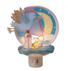 Baby Girl Stork Night Light
