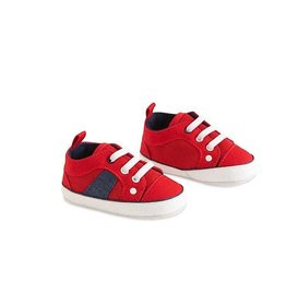 Red Boys Shoes with Blue Trim