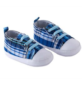 Blue Plaid Boys Shoes