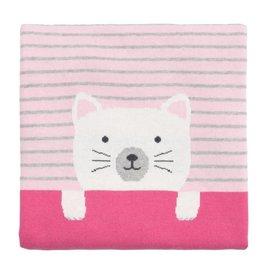 Elegant Baby Kitty Jacquard Knit Blanket