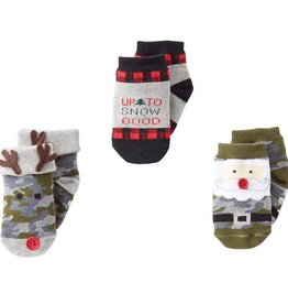Mud Pie Camo Christmas Sock Set, 0-12 Months