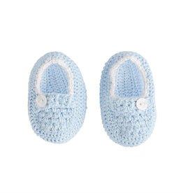 Mud Pie Blue Crochet Baby Booties