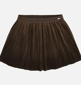 Pleated Velvet Skirt (Chocolate)