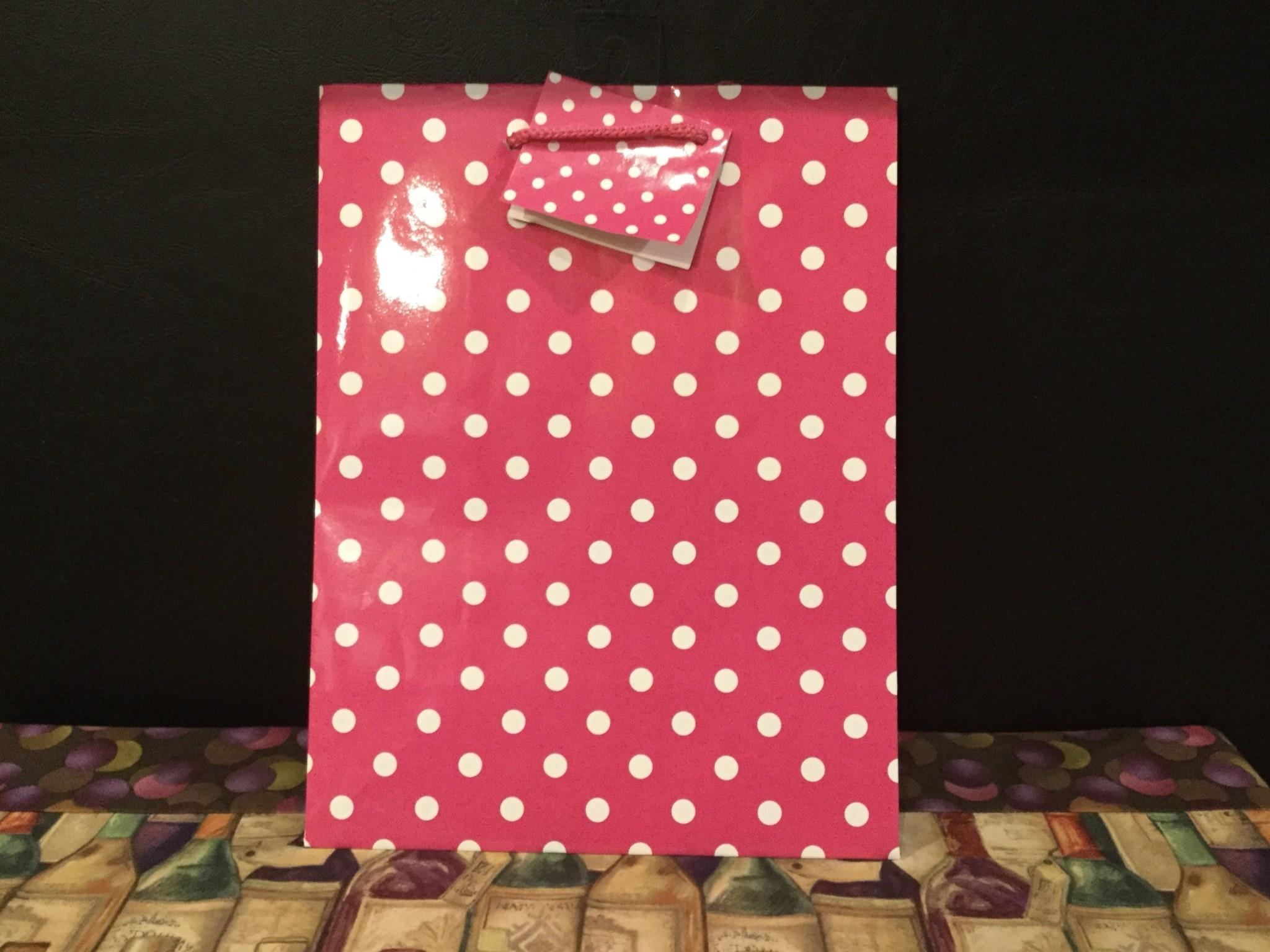 Gift Bag Pink w/Dots