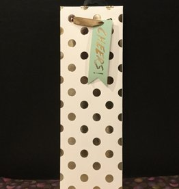 Wine Gift Bag Gold Polka Dot