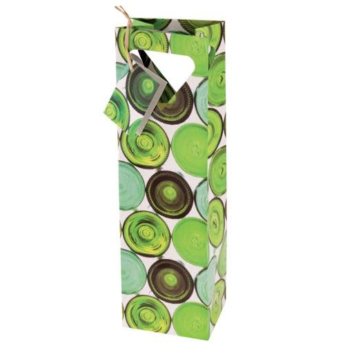 Wine Gift Bag Green Bottles