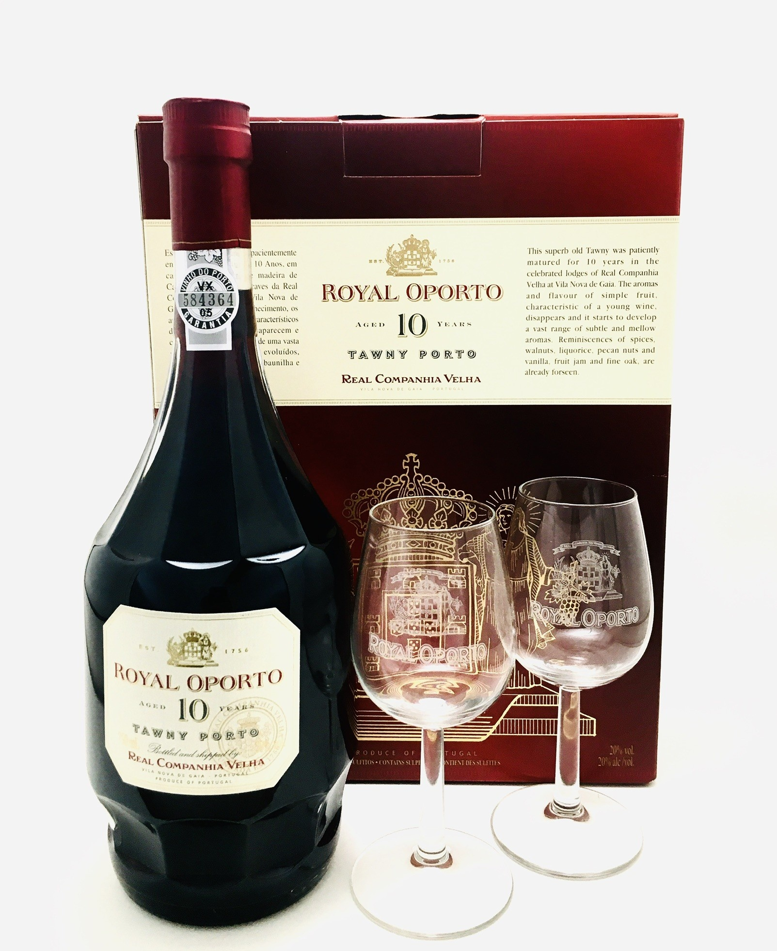 Real Companhia Velha Royal Oporto 10 Year Old Tawny Porto Portugal 2010 & Gift set with 2 Glasses