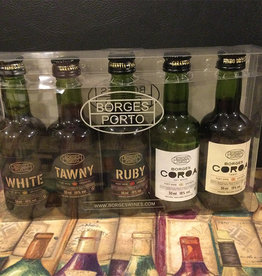 Borges Wines Set of 5 Miniatures Port Wine Gift Set Douro Portugal NV