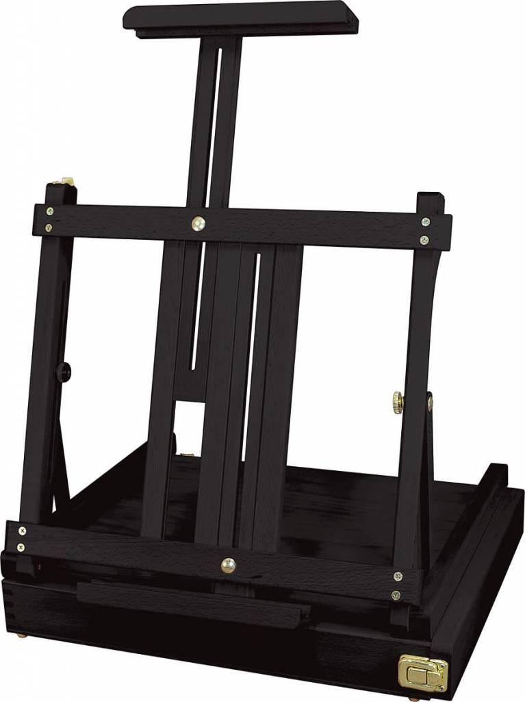 "Art Advantage Black 16"" x 14"" x 5"" Beech Wood Sketch Box Table Easel"