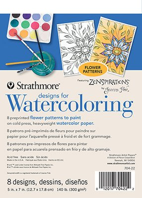 "Strathmore Artist Papers 5"" x 7"" Flowers Designs for Watercoloring 8 Design Pad"
