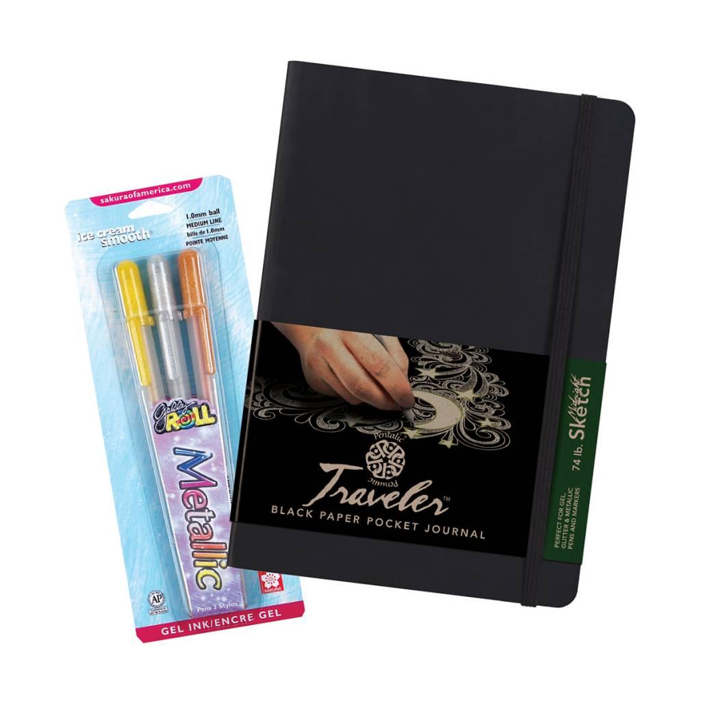 "Pentalic 8"" x 6"" Traveler Midnight Sketch Black Paper Journal & Metallic Gelly Roll Set"