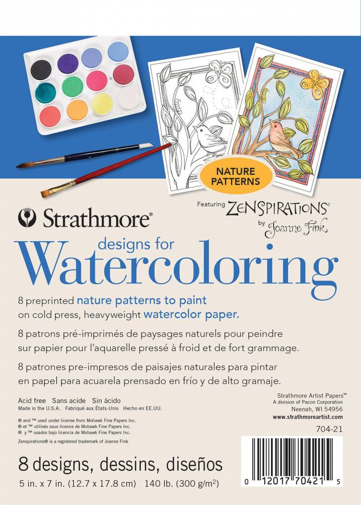 "Strathmore Artist Papers 5"" x 7"" Nature Designs for Watercoloring 8 Design Pad"