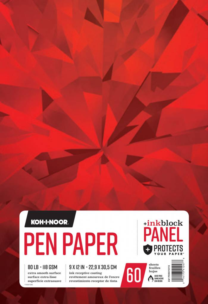 "Koh-i-Noor 9"" x 12"" 80 lb. (118 gsm) Pen Paper (InkBlock Panel) 60 Sheet Pad"