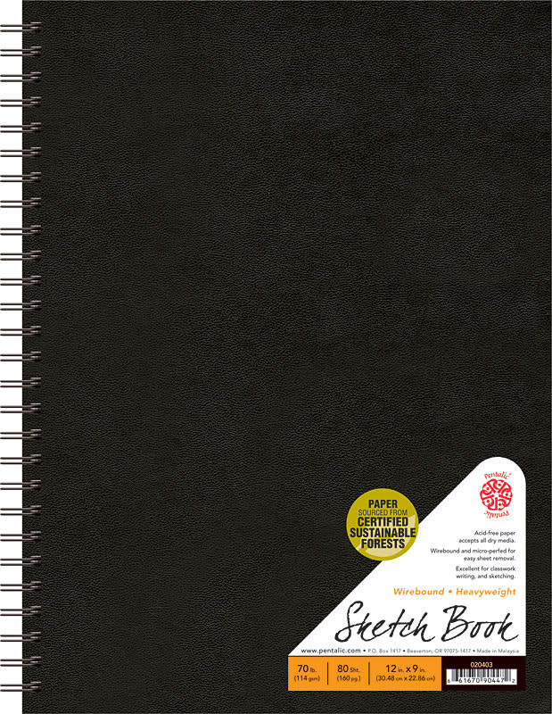 "Pentalic Black 9"" x 12"" 70 lb. Traditional Sketchbook 80 Sheet Double Wirebound Book"