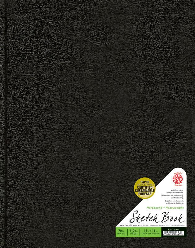"Pentalic Black 11"" x 14"" 70 lb. Traditional Sketchbook 220 Page Hardbound Book"