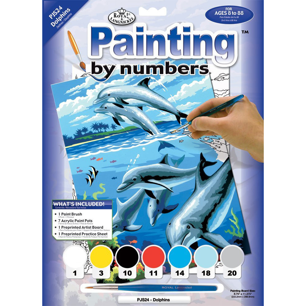 ROYAL & LANGNICKEL ROYAL & LANGNICKEL PAINT BY NUMBER SMALL DOLPHINS