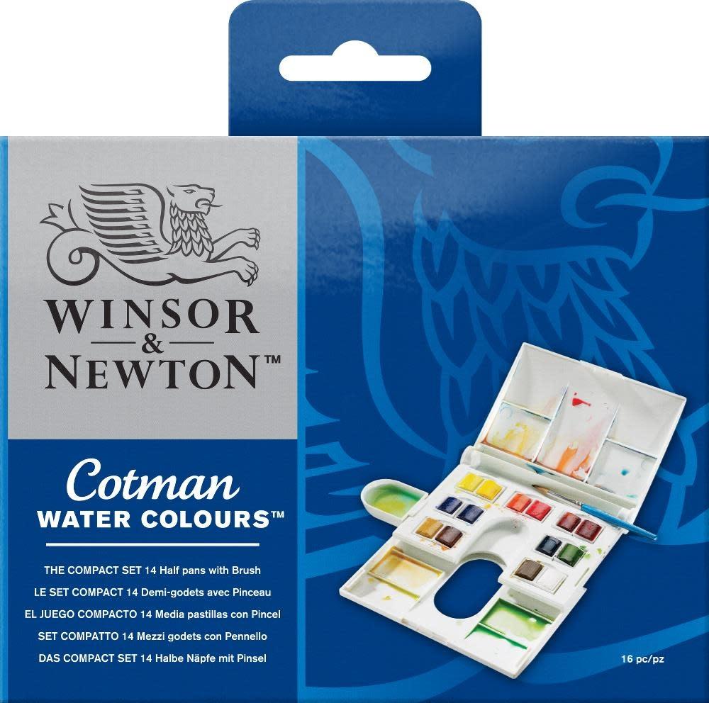 WINSOR NEWTON COTMAN WATERCOLOUR COMPACT SET/14 HALF PANS