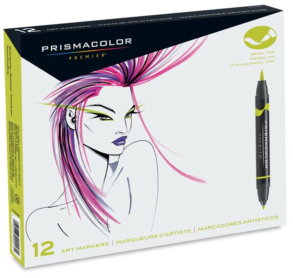 SANFORD PRISMACOLOR BRUSH MARKER SET/12 PRIMARY/SECONDARY COLOURS