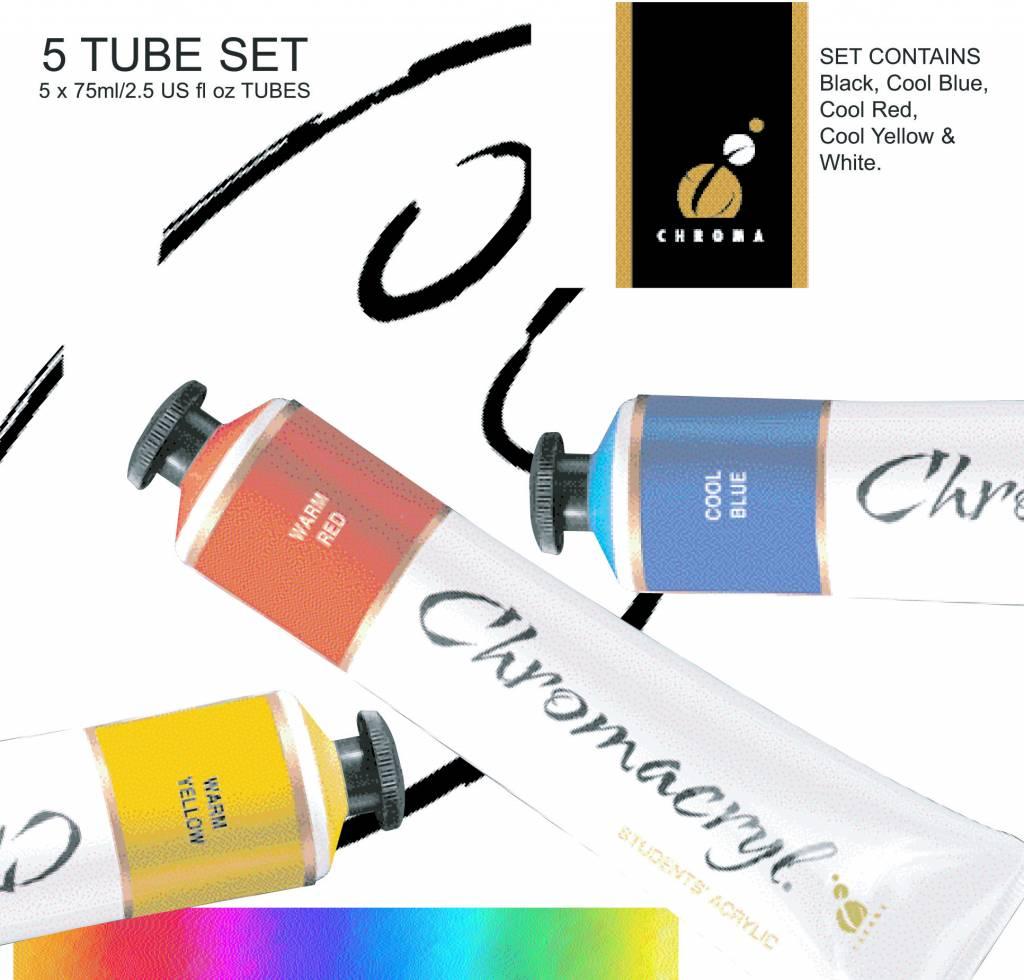 CHROMA CHROMACRYL SET/5 75ML TUBES