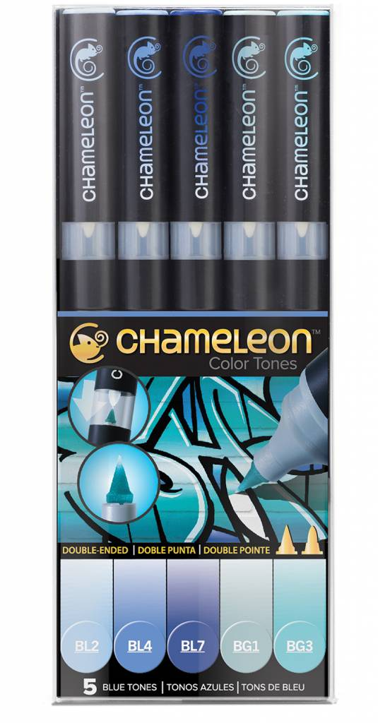 CHAMELEON CHAMELEON COLOUR TONES MARKERS BLUE SET/5