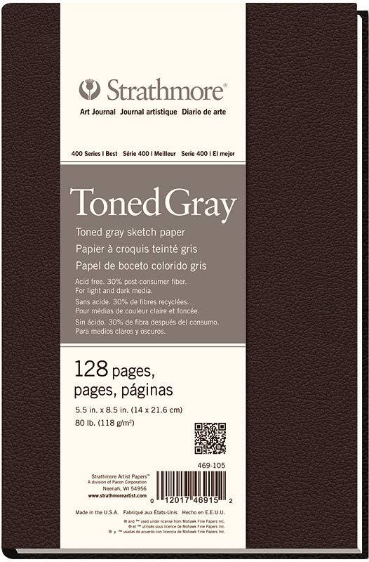STRATHMORE STRATHMORE ART JOURNAL TONED GRAY HARDBOUND 5.5X8.5  80LB    STR-469-105