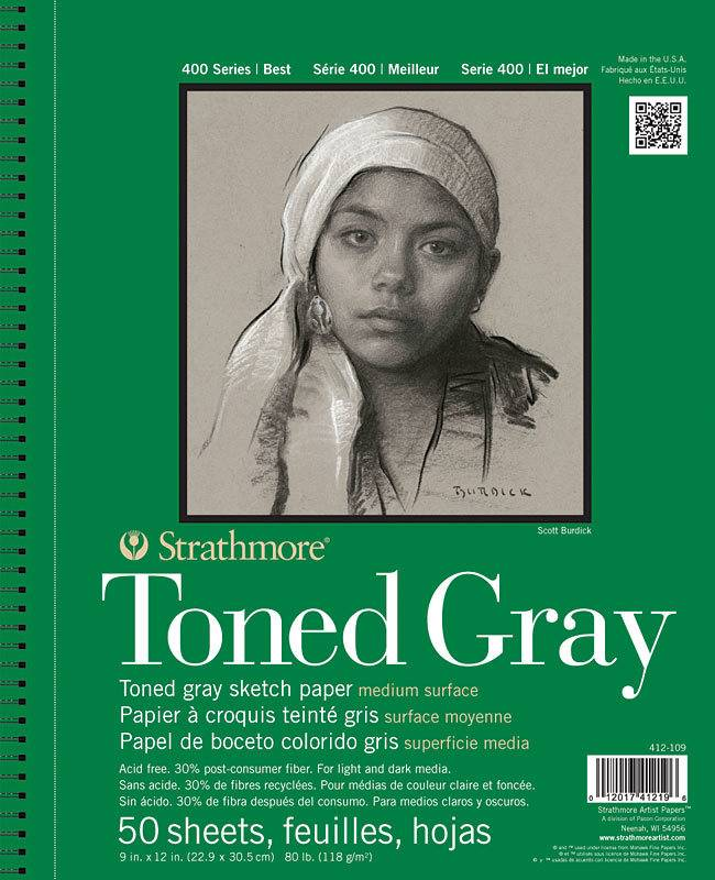 STRATHMORE STRATHMORE TONED GRAY SKETCH PAPER PAD 9X12 SIDE COIL 80LB  50SHT    412-109