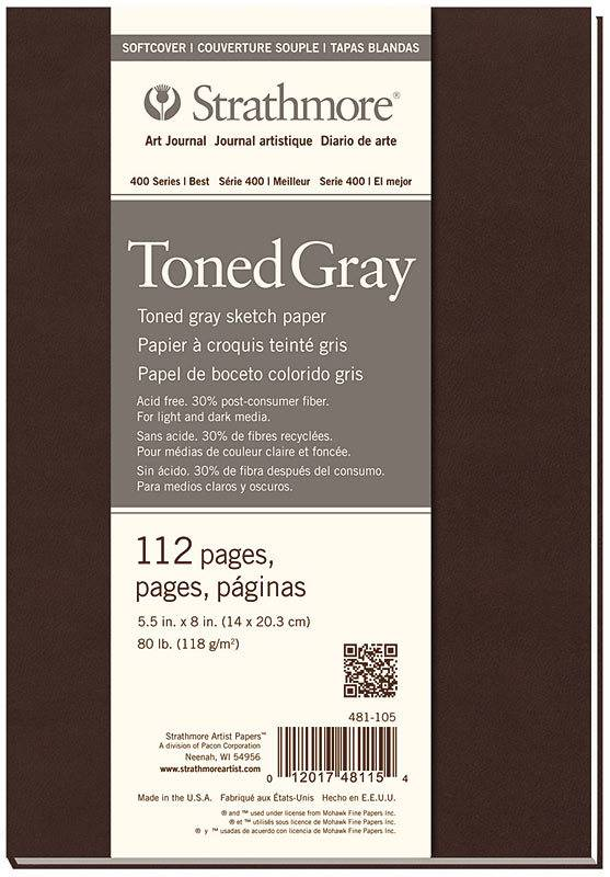 STRATHMORE STRATHMORE TONED GRAY SKETCH PAPER PAD SOFT COVER 5.5X8
