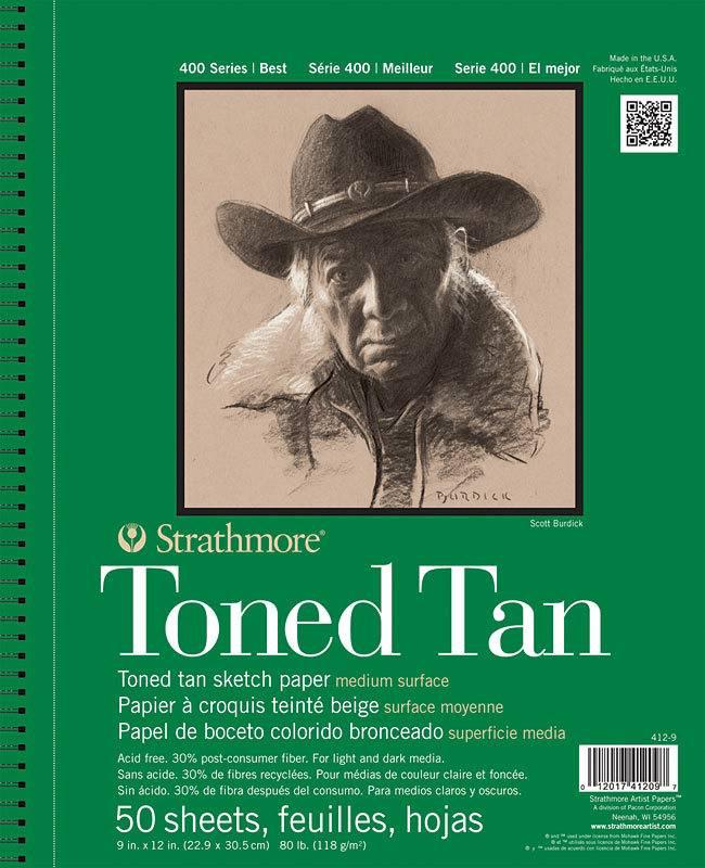 STRATHMORE STRATHMORE TONED TAN SKETCH PAPER PAD 9X12 SIDE COIL 80LB  50SHT    412-9