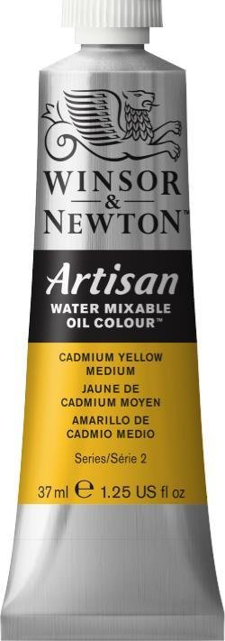 WINSOR NEWTON ARTISAN WATER MIXABLE OIL COLOUR CADMIUM YELLOW MEDIUM 37ML