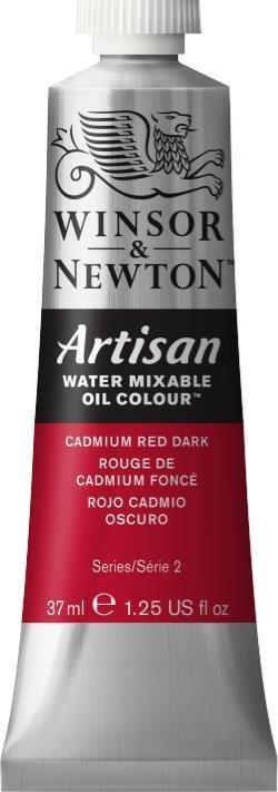 WINSOR NEWTON ARTISAN WATER MIXABLE OIL COLOUR CADMIUM RED DARK 37ML