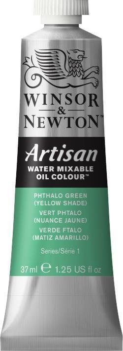 WINSOR NEWTON ARTISAN WATER MIXABLE OIL COLOUR PHTHALO GREEN  YELLOW SHADE  37ML
