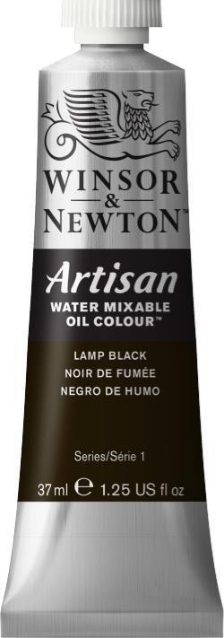 WINSOR NEWTON ARTISAN WATER MIXABLE OIL COLOUR LAMP BLACK 37ML