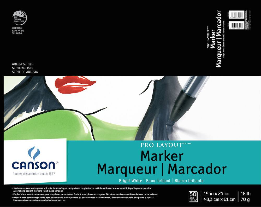 CANSON CANSON ARTIST SERIES PRO LAYOUT MARKER PAD 19X24 18LB  50SHT