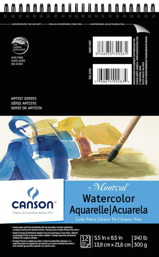CANSON CANSON MONTVAL WATERCOLOUR PAD 140LB CP 5.5X8.5 TOP COIL 12/SHT    CAN-100511057