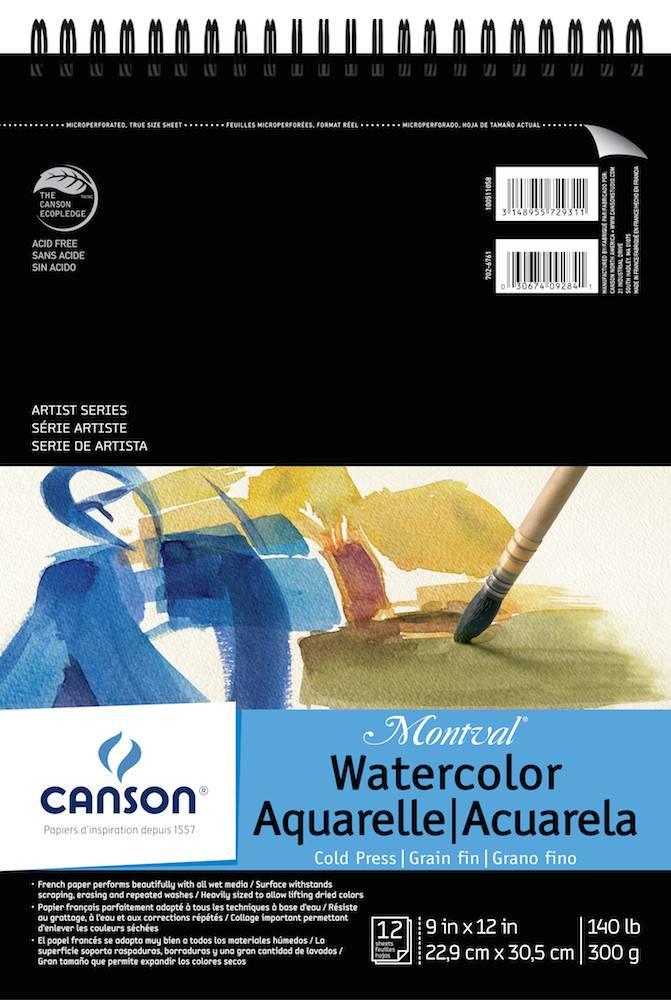 CANSON CANSON MONTVAL WATERCOLOUR PAD 140LB CP 9X12 TOP COIL 12/SHT    CAN-100511058