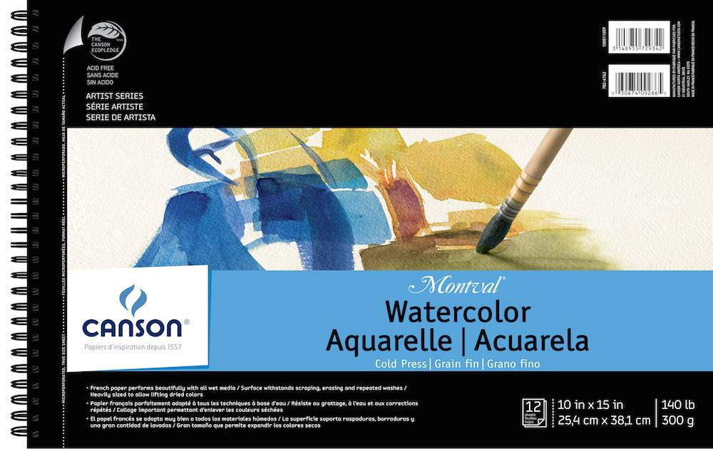 CANSON CANSON MONTVAL WATERCOLOUR PAD 140LB CP 10X15 SIDE COIL 12/SHT    CAN-100511059