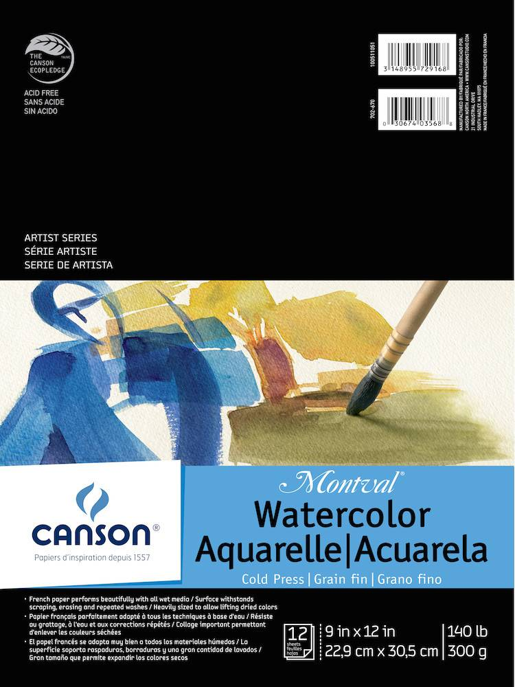 CANSON CANSON MONTVAL WATERCOLOUR PAD 140LB CP 9X12 TAPE BOUND  12/SHT    CAN-100511051