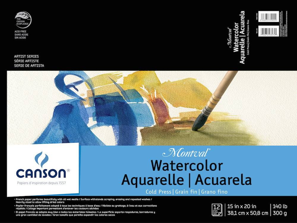 CANSON CANSON MONTVAL WATERCOLOUR PAD 140LB CP 15X20 TAPE BOUND 12/SHT    CAN-100511053