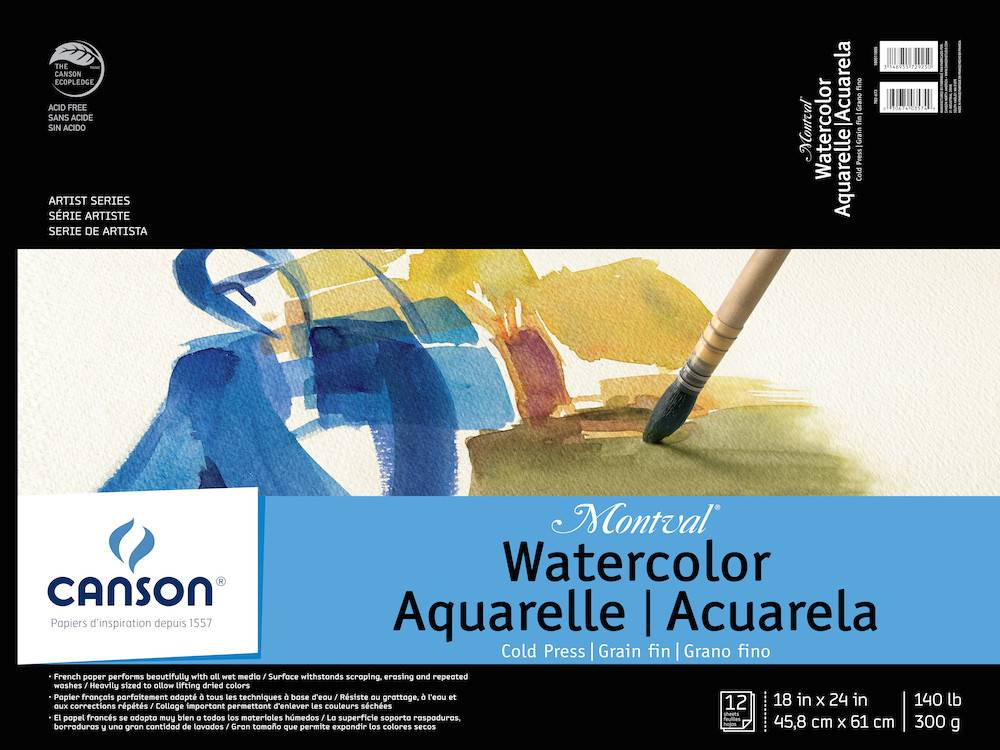 CANSON CANSON MONTVAL WATERCOLOUR PAD 140LB CP 18X24 TAPE BOUND 12/SHT    CAN-100511055