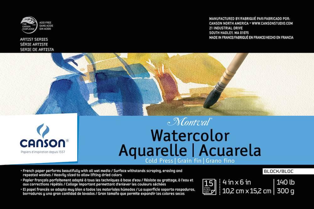 CANSON CANSON MONTVAL WATERCOLOUR BLOCK 140LB CP 4X6 15/SHT    CAN-100511061
