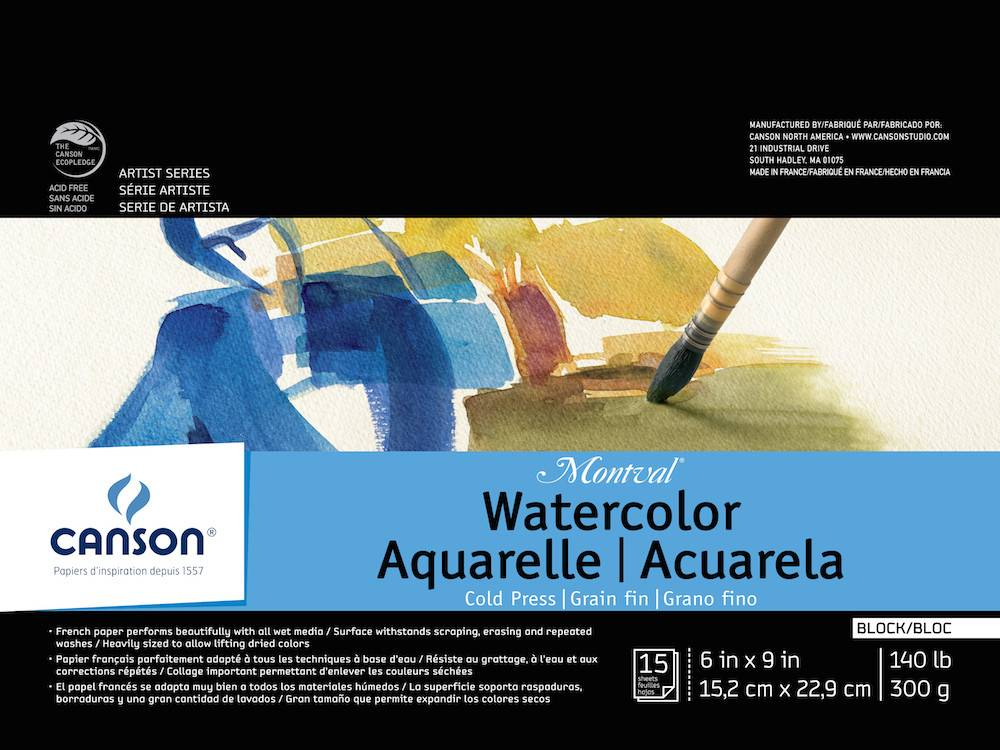 CANSON CANSON MONTVAL WATERCOLOUR BLOCK 140LB CP 6X9 15/SHT    CAN-100511062