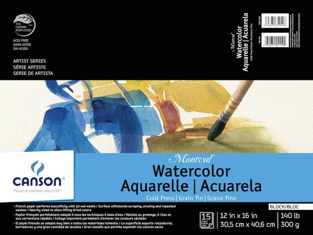 CANSON CANSON MONTVAL WATERCOLOUR BLOCK 140LB CP 12X16 15/SHT    CAN-100511065