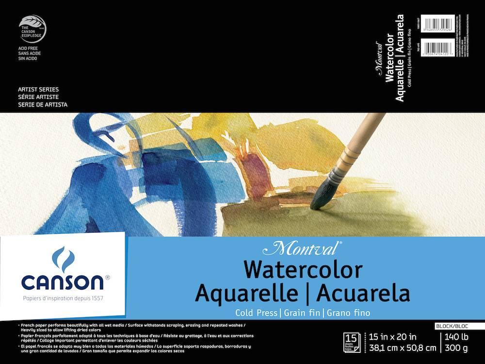 CANSON CANSON MONTVAL WATERCOLOUR BLOCK 140LB CP 15X20 15/SHT    CAN-100511067