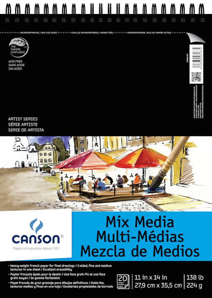 CANSON CANSON ARTIST SERIES MIX MEDIA PAD 11X14 138LB TOP COIL  20/SHT    CAN-200006187