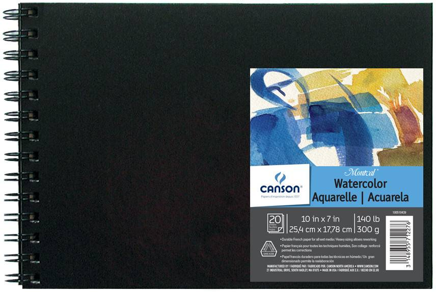 CANSON CANSON MONTVAL FIELD WATERCOLOUR BOOK 140LB CP 10X7 HARDCOVER SIDE COIL  20/SHT    CAN-100510439