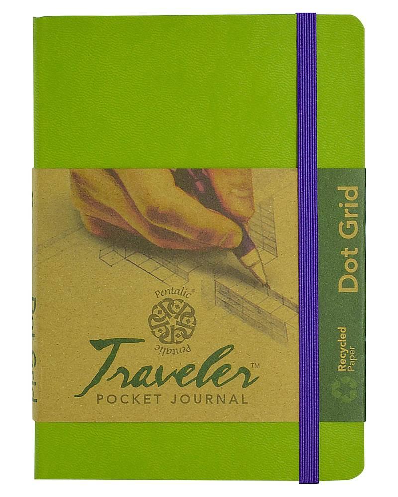 PENTALIC PENTALIC TRAVELER POCKET JOURNAL DOT GRID 6X4 OLIVE GREEN