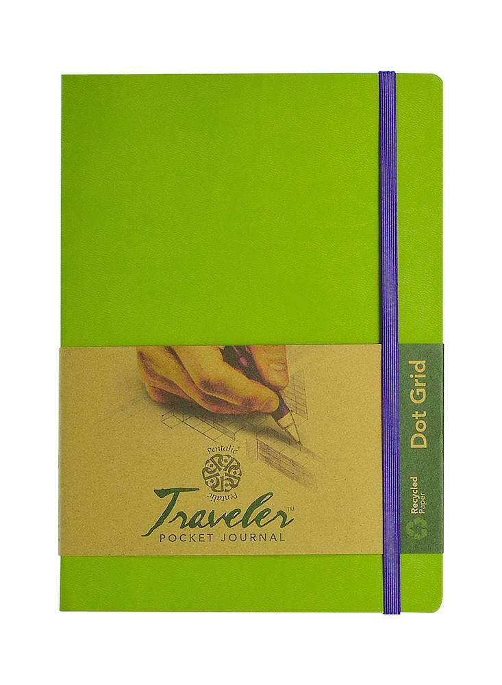 PENTALIC PENTALIC TRAVELER POCKET JOURNAL DOT GRID 8X6 OLIVE GREEN