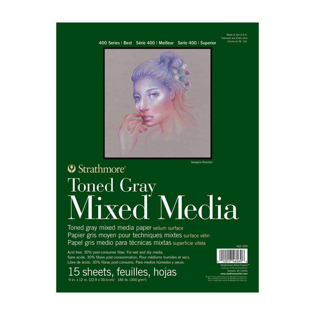 STRATHMORE STRATHMORE TONED GRAY MIXED MEDIA PAD 9X12 TAPE BOUND  15/SHT    STR-462-309