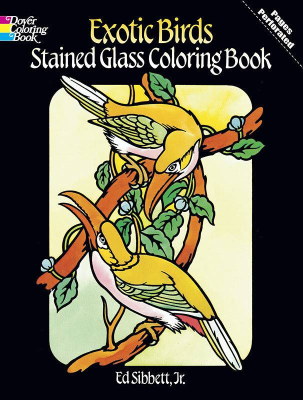 DOVER PUBLICATIONS EXOTIC BIRDS STAINED GLASS COLOURING BOOK